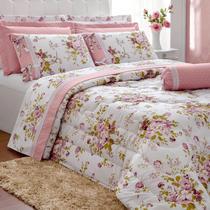 7132de784b Kit Edredon Queen 5 Peças Floratta Percal Floral Rose