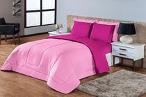 Kit Edredon Ternura Casal Queen 6 Peça Rosa Pink Dupla Face - Rulidry