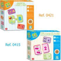 Kit Educativo 2 Jogos Madeira Alfabeto Números Nig Brinquedo -