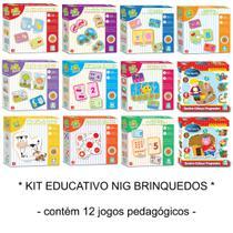 Kit Educativo Pedagógico com 12 Jogos Madeira Nig Brinquedos -