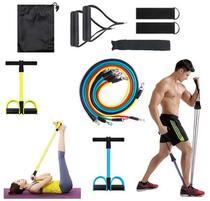 Kit Elástico 11 Peças + Extensor Pedal Situp Fitness Pilates - Top Total