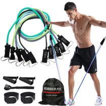 Kit Elástico Extensor para Malhar Musculação Treino Funcional Em Casa - 11 Itens - Rubber Fit