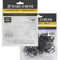 Kit elasticos soft penteados transparente e preto marco boni -