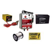Kit Eletrificador Cerca Rural 50km + Bateria 7ah Vrla + Carregador 3ah + Arame + Placa - Sentinela