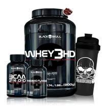 Kit Emagrecimento Black Skull - Whey 3HD + BCAA + Termogenico