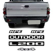 Kit Emblemas L200 Outdoor 4x4 Hpe 2007 Adesivos Resinados - Sportinox
