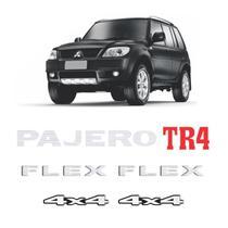 Kit Emblemas Pajero Tr4 Flex 4x4 Prata Adesivos Resinados - SPORTINOX