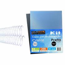 Kit Encadernação 200 Capas A4 + 200 Espirais Cristal 7, 9mm - Marpax