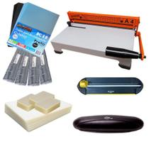 Kit Encadernadora + Plastificadora + Refiladora + Insumo 110 - Marpax