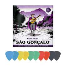 Kit Encordoamento 009 para Guitarra + 10 Palhetas Médias - São Gonçalo