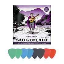Kit Encordoamento 009 para Guitarra + 8 Palhetas Finas - São Gonçalo