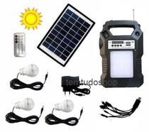 Kit Energia Solar 3 Lampadas Led Placa E Central Eletrônica Radio - GD Plus
