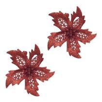 Kit enfeite de arvore flor c/ glitter 11cm x 2pcs - niazitex -