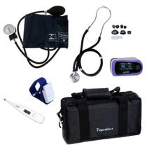 Kit Enfermagem Academico Comp. Esfigmomanometro + Oxímetro + Esteto + Garrote + Bolsa + Termometro - Premium