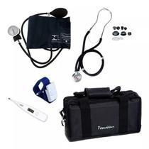 Kit Enfermagem Academico Completo Esfigmomanometro + Esteto + Garrote + Bolsa + Termometro - Premium