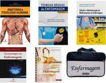 Kit enfermagem: anatomia + técnicas básicas + cálculo e administração+ terminologia + diário técnico+ bolsa jrmed - Editora martinari