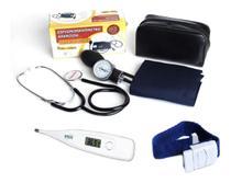 Kit Enfermagem Aparelho De Medir Pressão Garrote Termômetro - PREMIUM