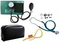 Kit Enfermagem Aparelho de Pressão com Estetoscópio Duplo Rappaport Premium Cores + Garrote JRMED -
