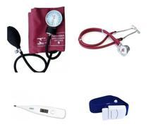 Kit Enfermagem Aparelho De Pressão Com Estetoscópio Duplo + Termômetro + Garrote - Premium