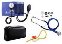 Kit Enfermagem: Aparelho de Pressão com Estetoscópio Rappaport Azul Premium + Garrote JRMED -