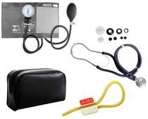 Kit Enfermagem: Aparelho de Pressão com Estetoscópio Rappaport Grafite Premium + Garrote JRMED -