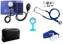 Kit Enfermagem Aparelho De Pressão com Estetoscópio Rappaport Premium Azul + Garrote Cores + Relógio Lapela -