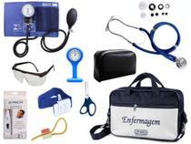 Kit Enfermagem Aparelho De Pressão com Estetoscópio Rappaport Premium Completo - Azul + Bolsa JRMED + Relógio Lapela -