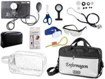 Kit Enfermagem Aparelho De Pressão com Estetoscópio Rappaport Premium Completo Preto + Bolsa JRMED + Relógio Lapela + Necessaire -