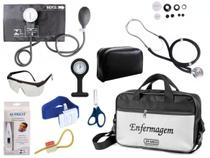 Kit Enfermagem Aparelho De Pressão com Estetoscópio Rappaport Premium Completo - Preto + Bolsa JRMED + Relógio Lapela -