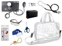 Kit Enfermagem Aparelho De Pressão com Estetoscópio Rappaport Premium Completo - Preto + Bolsa Transparente -