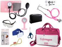 Kit Enfermagem Aparelho De Pressão com Estetoscópio Rappaport Premium Completo - Rosa + Bolsa JRMED + Relógio Lapela -