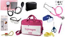Kit Enfermagem Aparelho De Pressão com Estetoscópio Rappaport Premium Completo - Rosa + Bolsa JRMED -