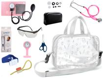 Kit Enfermagem Aparelho De Pressão com Estetoscópio Rappaport Premium Completo - Rosa + Bolsa Transparente + Relógio Lapela -