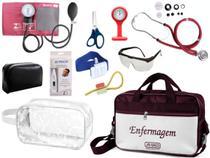 Kit Enfermagem Aparelho De Pressão com Estetoscópio Rappaport Premium Completo Vinho + Bolsa JRMED + Relógio Lapela + Necessaire -