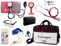 Kit Enfermagem Aparelho De Pressão com Estetoscópio Rappaport Premium Completo - Vinho + Bolsa JRMED + Relógio Lapela -