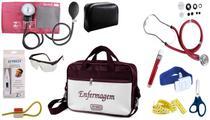Kit Enfermagem Aparelho De Pressão com Estetoscópio Rappaport Premium Completo - Vinho + Bolsa JRMED -