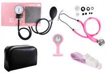 Kit Enfermagem Aparelho De Pressão com Estetoscópio Rappaport Premium Rosa + Garrote Cores + Relógio Lapela -