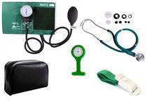 Kit Enfermagem Aparelho De Pressão com Estetoscópio Rappaport Premium Verde + Garrote Cores + Relógio Lapela -