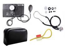 Kit Enfermagem: Aparelho de Pressão com Estetoscópio Rappaport Preto Premium + Garrote JRMED -