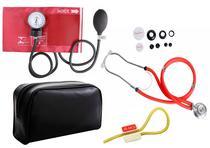 Kit Enfermagem: Aparelho de Pressão com Estetoscópio Rappaport Vermelho Premium + Garrote JRMED -