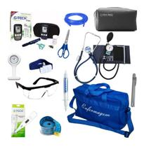 Kit Enfermagem Aparelho de Pressão Estetoscópio Duplo Completo Medidor de Glicose Bolsa Azul - Premium