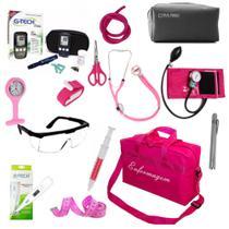 Kit Enfermagem Aparelho de Pressão Estetoscópio Duplo Completo Medidor de Glicose Bolsa Pink - Premium