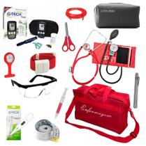 Kit Enfermagem Aparelho de Pressão Estetoscópio Duplo Rappaport Completo Glicosímetro Bolsa Vermelha - Pamed//Premium