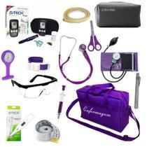 Kit Enfermagem Aparelho de Pressão Estetoscópio Duplo Rappaport Kit Medidor de Glicose Bolsa Roxa - Pamed