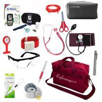 Kit Enfermagem Aparelho de Pressão Estetoscópio Duplo Rappaport Kit Medidor de Glicose Bolsa Vinho - Premium
