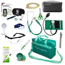 Kit Enfermagem Aparelho de Pressão Estetoscópio Duplo Rappaport Medidor de Glicose Bolsa Verde - Premium