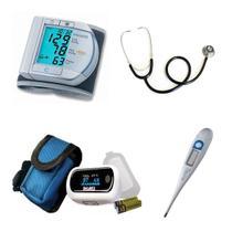 Kit Enfermagem Aparelho De Pressão Oximetro Esteto Duplo - Microlife