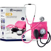 Kit Enfermagem Aparelho Pressão com Estetoscópio Clinico Duplo Incoterm Cores + Garrote JRMED -