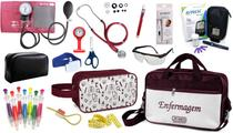 Kit Enfermagem Aparelho Pressão com Estetoscópio Duplo Rappaport Premium Cores Completo + Bolsa e Necessaire JRMED + Medidor de Glicose - G-Tech -