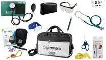 Kit Enfermagem Aparelho Pressão com Estetoscópio Duplo Rappaport Premium Cores Completo + Medidor de Glicose - G-Tech + Bolsa JRMED -